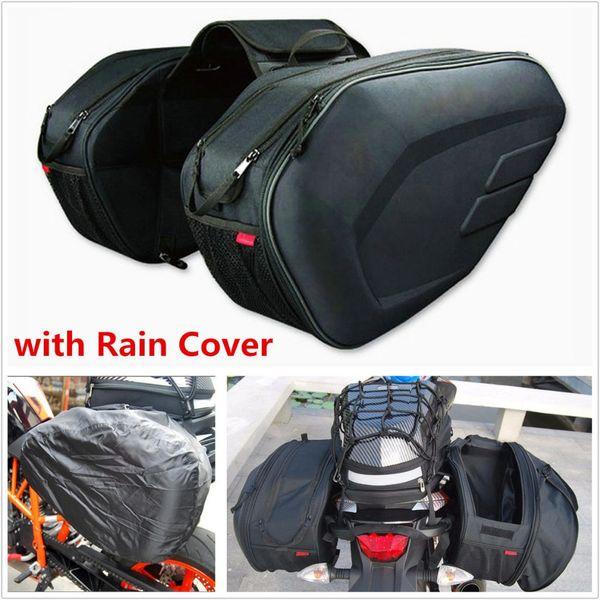 Ein Set Komine SA212 Wasserdichte Motorrad-Satteltaschen Moto Reithelm-Tasche Seitentasche Heckgepäck Koffer mit Regenschutz