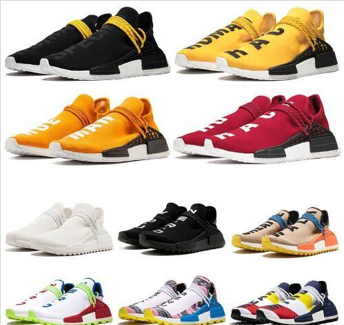 PW Human Race Hu Trail X Womens Shoes Pharrell Williams Nerd Black Triples White Cream Tie Dye Sun Glow Trainers Mens Sports Sneakers