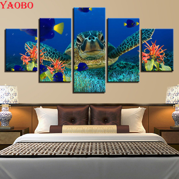 wholesale Diamond Painting Underwater world sea turtle Cross Stitch Resin Stone Square Drill Picture Pasted Diamond Embroidery 5 pcs