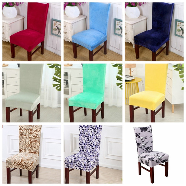 Chair Cover Velvet Elastic Chair Cloth Solid Colors Chair Covers Dining Room Seat Cover Home Hotel Wedding Decoration 30 Colors YW1858