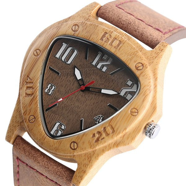 watch for Unique Wooden Watches for Men Sport Racing Design Geometric Triangle Man's Quartz Watch Bamboo Relogio Masculino Orologio Uomo