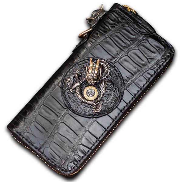 Handgemachte schwarze Krokodilleder chinesischen Drachen Geldbörsen Geldbörsen Männer lange Kupplung pflanzlich gegerbtes Leder Brieftasche Kartenhalter B19104