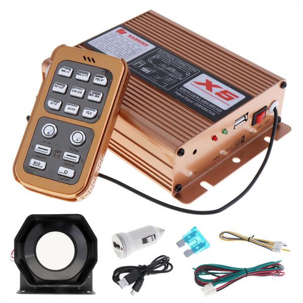 Freeshipping Nuevo 12V 400W 8 Sonido Alarma de Alarma de Coche Alarma de Policía Sirena Cuerno Altavoz con Sistema MIC y Control Remoto Inalámbrico