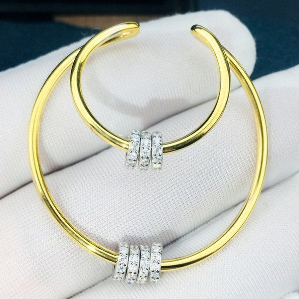 Высокое качество Дизайнер BOHE 925 STERLING SILVER кубический циркон камень обруч линия маленькие движущиеся круги Серьги-манжеты серьги партии ювелирных изделий для женщин