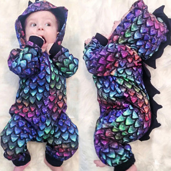 Karikatür Ejderha Bebek Giyim Bebek BoyGirl Kapşonlu Uzun Kollu Bebek Tulumu Jumpsuit Giyim Kıyafet Yeni Doğum Bebek Giyim