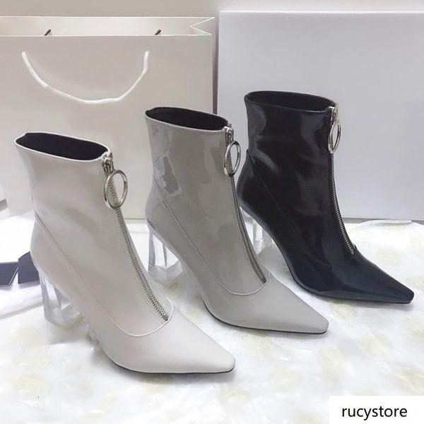 Para mujer bottillons arranque señoras acentuadas transparente gruesos botines de cuero de las mujeres zapatos de moda del tobillo Patente Botas anillo botas de cremallera