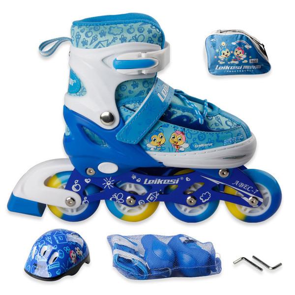 Un ensemble d'enfants d'enfants Belle Roller en ligne de patinage Roller Chaussures Casque de protection genou réglable PU Roues vitesse Patines Cadre épais