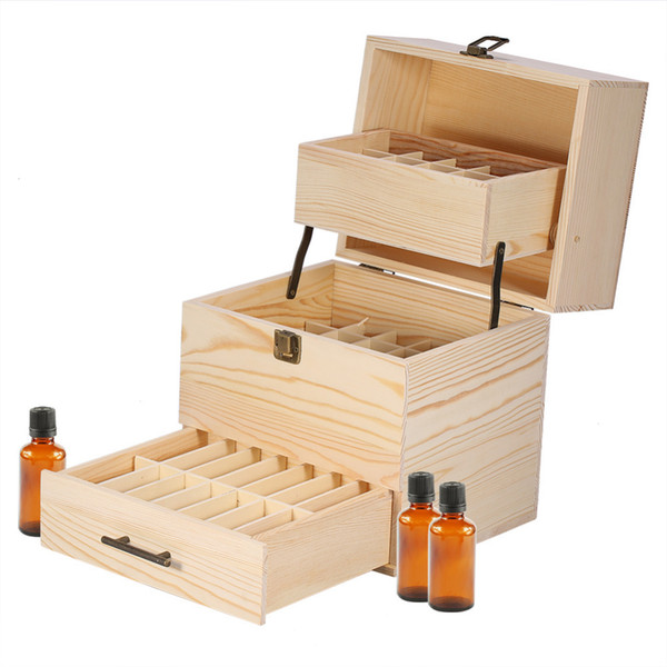 Esenciales de madera caja de aceite 59 Slots 3 capas aromaterapia titular de la botella desmontable Cajas de almacenamiento Organizador T200115