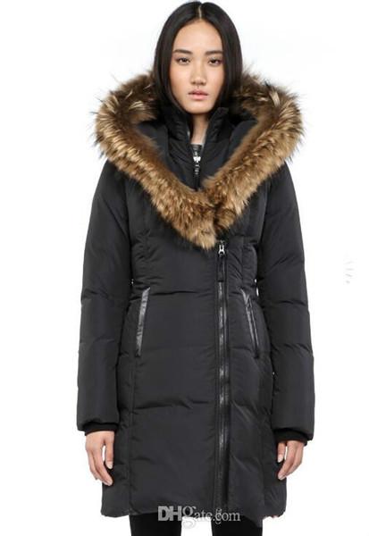 Women's Down jacket WINTER MAC-KAYf-F4-A508 Down & Parkas Real Raccoon Fur Collar White Duck Outerwear & Coats WITH FUR HOOD