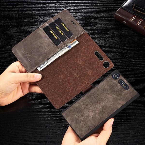 Venda Por Atacado carteira caso para sony xperia xz xzs xz1 xz3 x xz2 casos compactos para sony xperia xz1 couro retro capa magnética de couro
