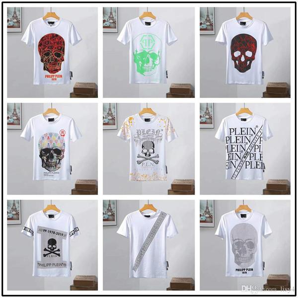 19 STYLE Itália Alemanha de alta qualidade 3D Rock t-shirt dos homens moda hip hop crânio impresso algodão T-shirt dos homens D2 aptidão O-pescoço shor