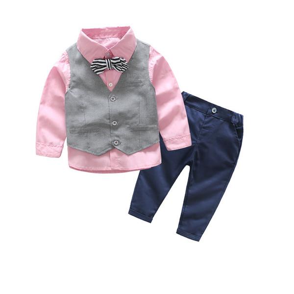 Cute Boys Gentleman Suits Candy Color Shirts Vests and Pants 3pcs Sets Spring Autumn Pink Mint Color Fashion Clothing