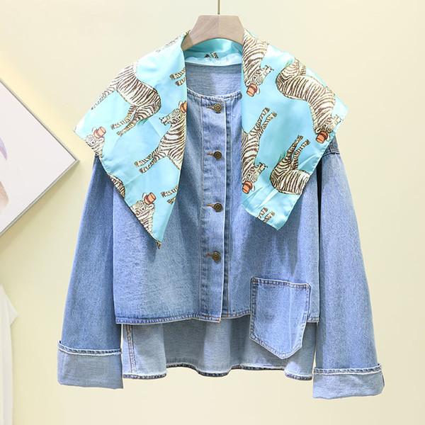 Frühling und Herbst koreanische Art-Schal-Schal-Flecken Unregelmäßige Jeans Jacket Women Street kurze Jacke Femme Studenten Denim Mantel