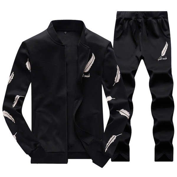 Tracksuit Men Two Pieces Set Mens Sweat Suits Stand Collar Printed Zipper Hoodie Men's Sportswear Men Clothing