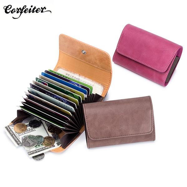 CORFEITER Multicolor Mini Geldbörse aus echtem Leder Weibliche Kleine Brieftasche Hochwertige Frauen Geldbeutel Geldbörse 12 Kartensteckplatz