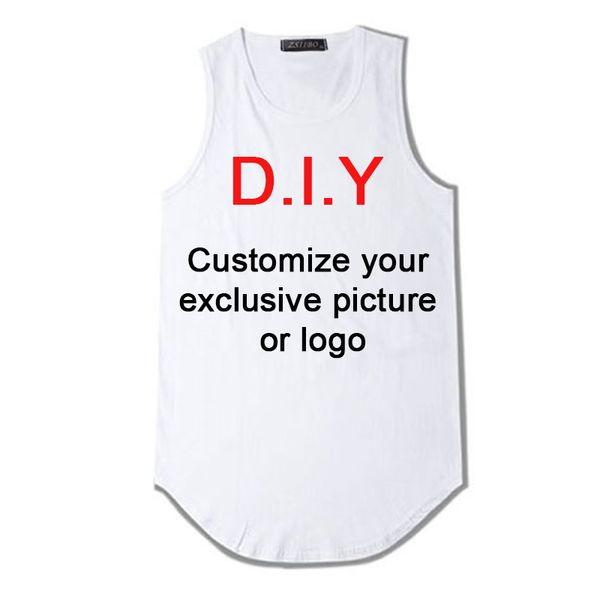 Personalizza il tuo design esclusivo Canottiera Uomo Uomo Extended Streetwear Senza maniche Long Line Hip Hop Swag Diy Print Vest Dzs5mc