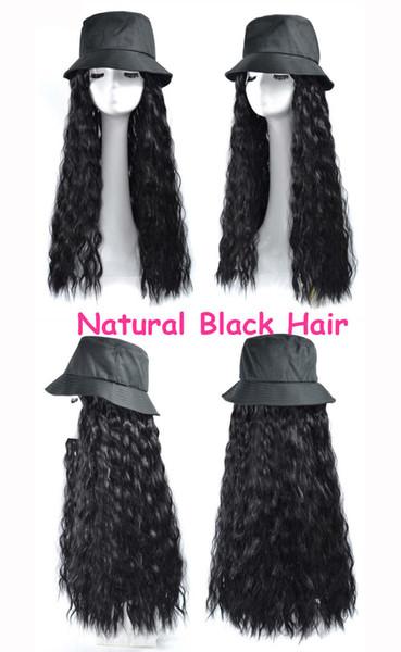 Fisherman's hat natural black curly hair