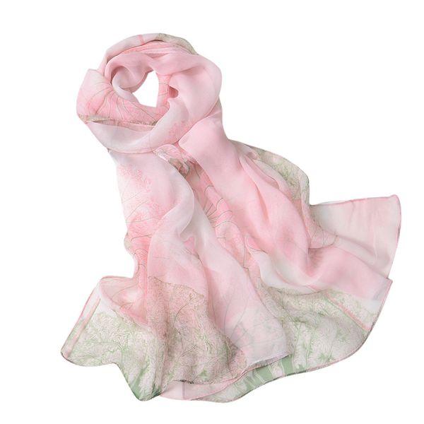 scarves women 2019 fashion femme silk scarf square handkerchief 's scarf Lotus Printing Long Soft Wrap Ladies Shawl veilMAR 15