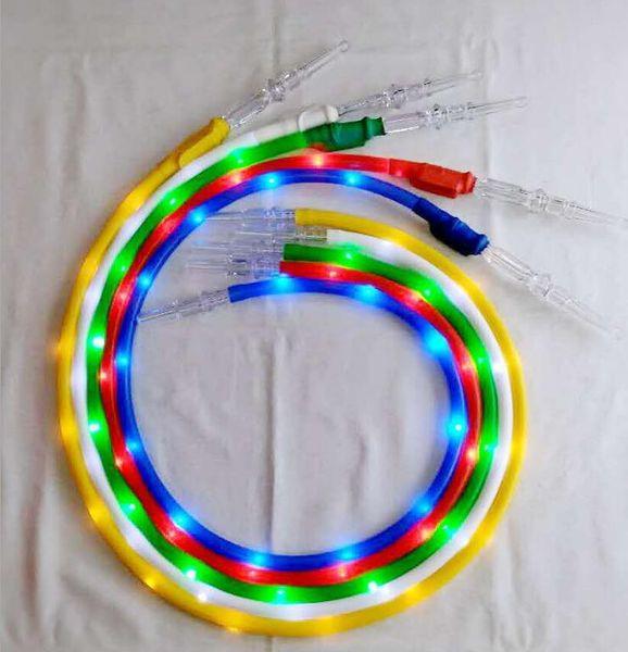 Poignée colorée en acrylique LED silicone Filtre tuyau avec lampe de poche lumière lumineux Tube Mounthpiece Tip 1.8M Pour Hookah Shisha Pipe
