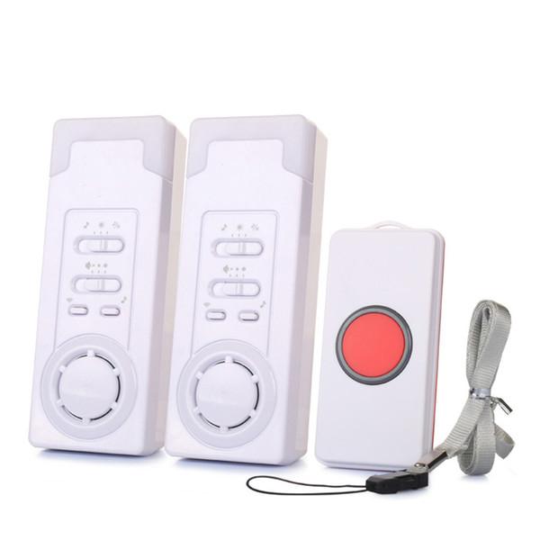 Kablosuz 2 1 Çağrı Beyaz Hasta Ev Alarm Sistemi Yaşlı Monitör Uyarısı Güvenlik Bakıcı Acil Çağrı Düğmesi