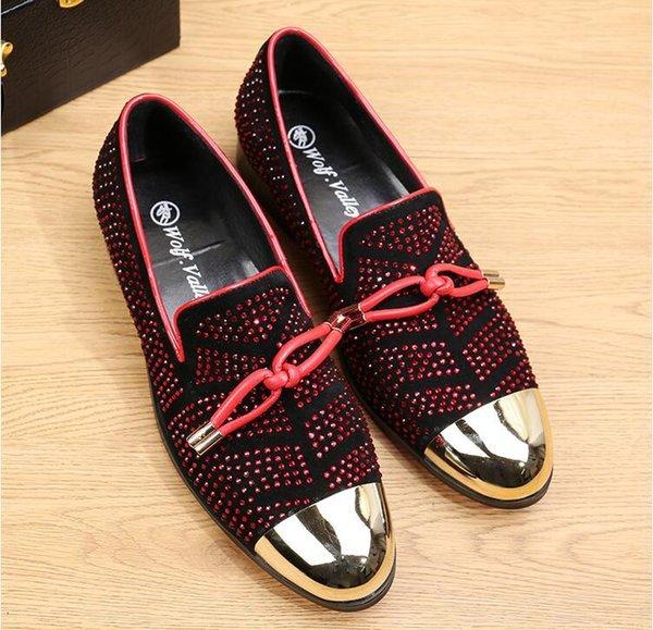 Men S sapatos moda casual couro preto homens borla s mocassins de metal sapatos de casamento festa de ouro rebite tamanho 38-46