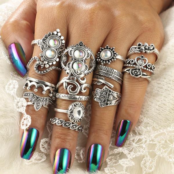 Bohemio conjunto de anillos de nudillos de plata tallado en forma de palma hueca en forma de corazón corona de ópalo anillo conjunto de 16 piezas conjunto hembra