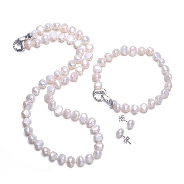 Daimi Baroque Pearl Sets 8-9mm Freshwater Pearl Jewelry Sets For Women Party Jewelry Heart Clasp Can Diy To Long Necklace MX190713