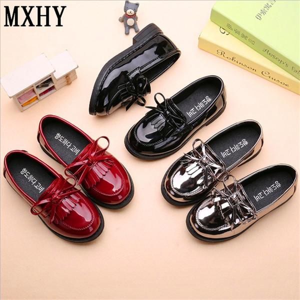 İlkbahar ve sonbahar new England çocuklar prenses ayakkabı siyah düşük topuk kızlar için gümüş ayakkabı / okul siyah / moccasins çocuklar için