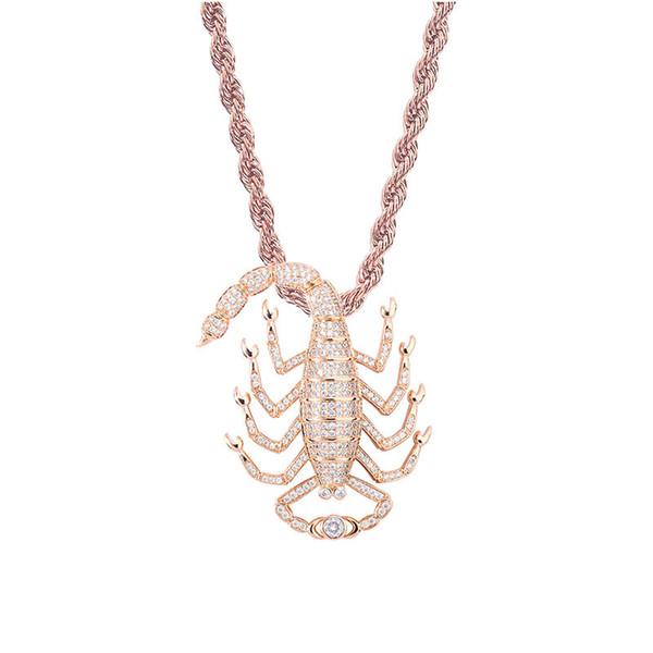 201909 Горячий Подвеска Творческий Scorpion Роскошные ожерелья 18K позолоченный Hip Hop ожерелье женщин шарма цепи свитера способа людей ювелирных изделий M635F