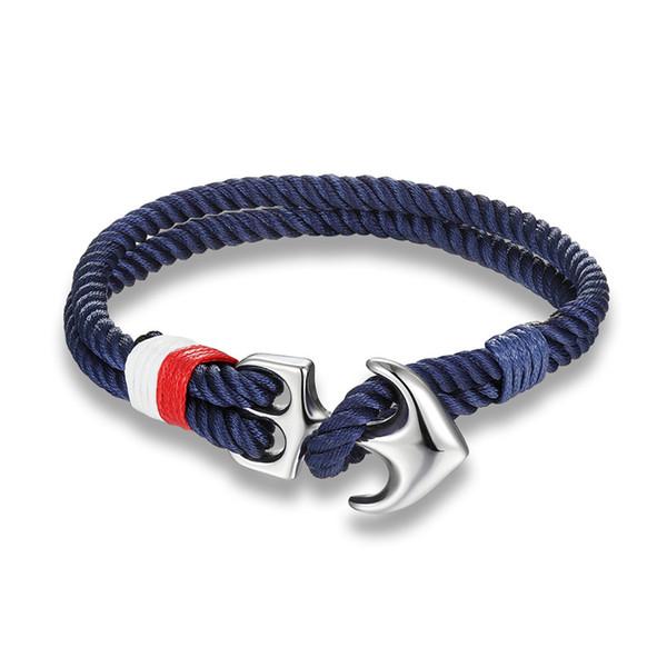 High Quality Anchor Bracelets Men Charm Nautical Survival Rope Chain Paracord Bracelet Male Wrap Metal Sport Hooks