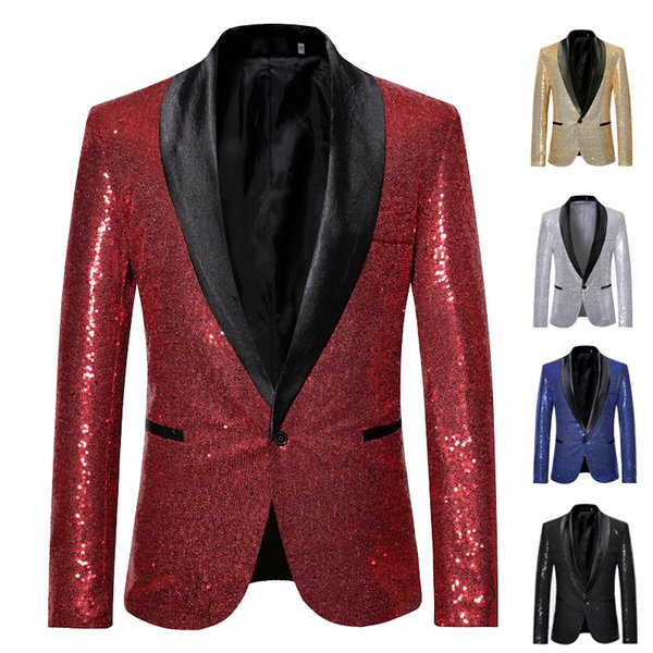 Shiny Red Sequin Bling Glitter Blazer Jacket Men 2019 New Shawl Collar One Button Nightclub Party Prom DJ Rock and Roll Costumes