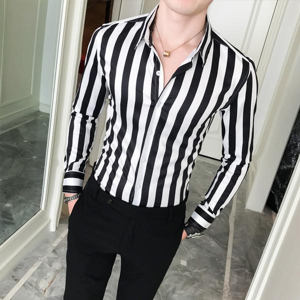 2019 New Business Shirt Men High Quality Turn Down Collar Slim Fit Men's Social Shirts Long Sleeve Gentlemen Striped Mens ShirtsMX190829