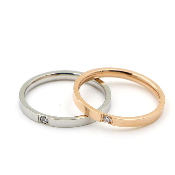 Wholesale 316L titanium steel new fashion ultra-fine version of the claw-set diamond wedding ring couple single diamond ring