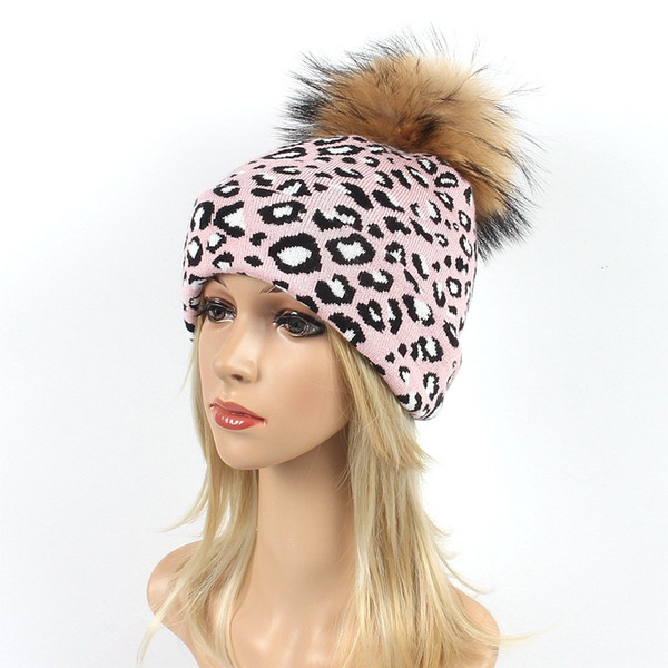 Cappelli invernali da donna Beanie Leopard Knitted Caps Skull Warm Casual Hat Real Raccoon Fur Pom Pom Ball Cappelli Soft Female Berretti da neve Berretti