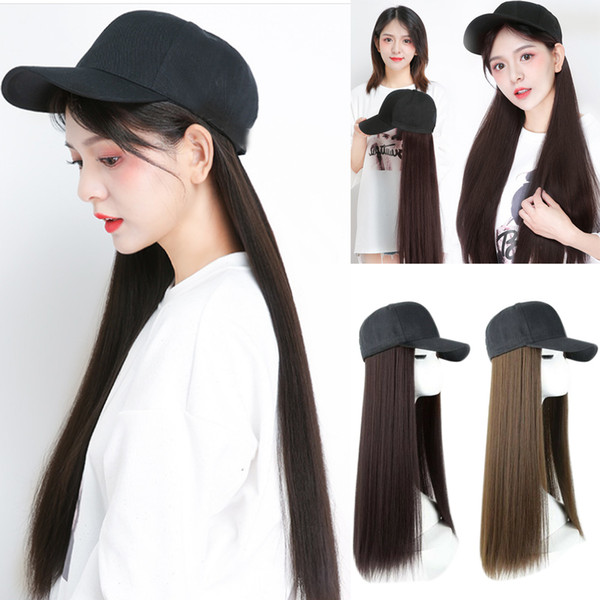 Fashion Women girl applies Baseball Cap with Synthetic Hair Extension Long Hair Wig Hat Natural Fashion Portable