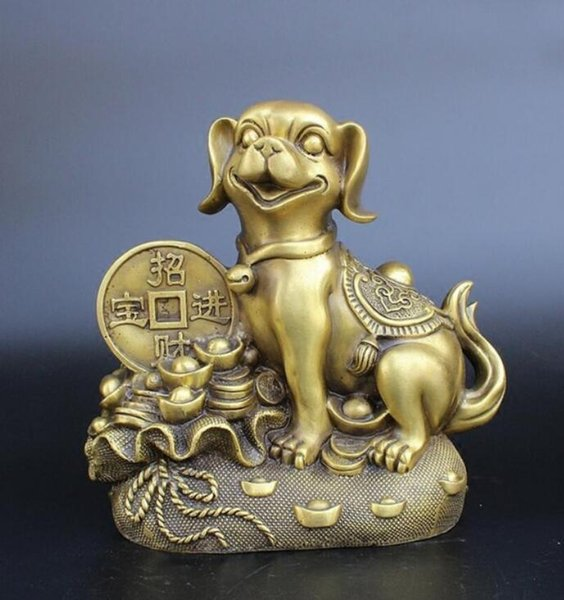 NEW+++Pure brass Felicitou h of making money Dog gold bag Arts and Crafts