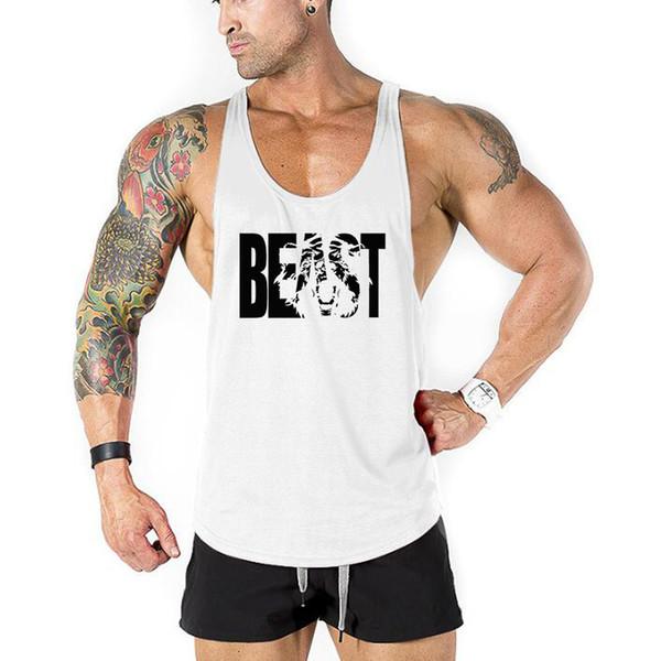 Brand Bodybuilding Clothing Fitness Stringer Tank Top Men Cotton Curved Hem Sleeveless Shirt Workout Beast Print Gyms Singlets