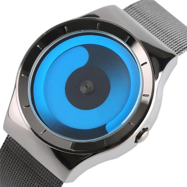 Fashion Turntable Blue/White/Purple Dial Quartz Wrist Watch Black Stainless Steel Mesh Band Men Women