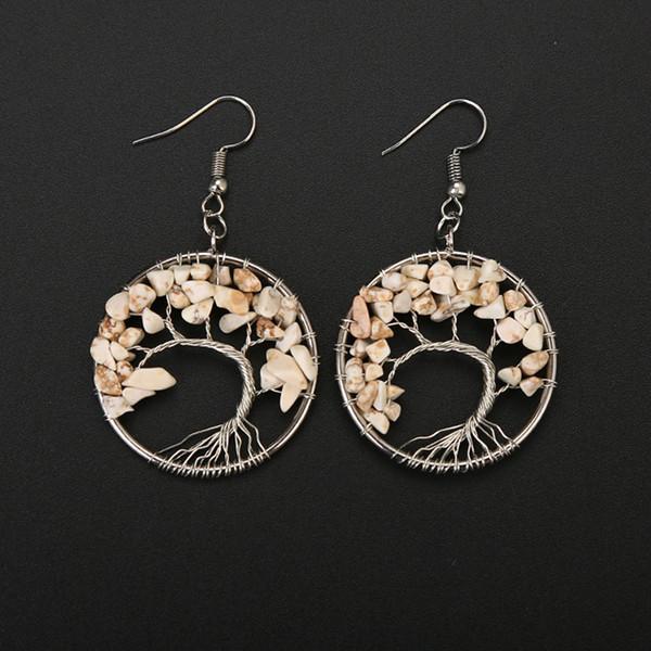 Turquoise Tree of Life Earrings Dangle & Chandelier Life Tree Female Earring Beads Women Girl Natural Multicolor Stone Crystal Ear Jewelry