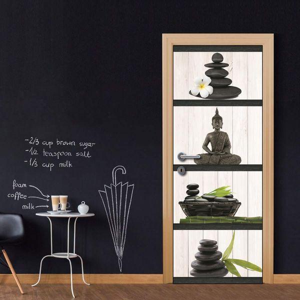 Door Wall Mural Wallpaper Stickers Vinyl Removable Decals for Home Room Decoration Zen Buddha Stones Bamboo
