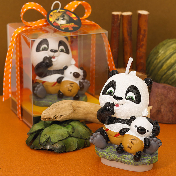 Baby boy girl Adult Birthday candle gift box packing lovely Gongfu panda Candle Adorable Party Cake Topper Baby Shower Favors #473
