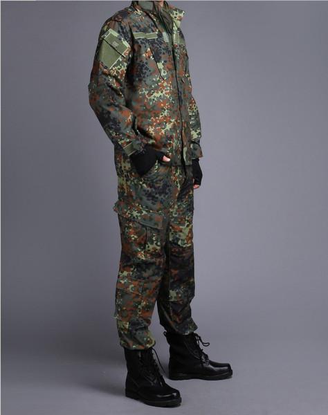 GERMAN ARMY WOODLAND CAMO Suit ACU BDU Camouflage Suit sets CS Combat Tactical Paintball Uniform Jacket & Pants