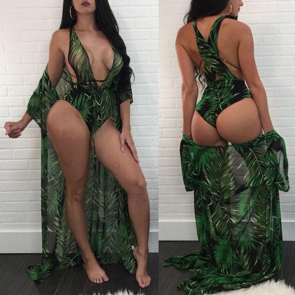 2pcs swimwear women bathing suit cover ups bandage v neck one piece swimsuit + kaftan cover up dress beachwear