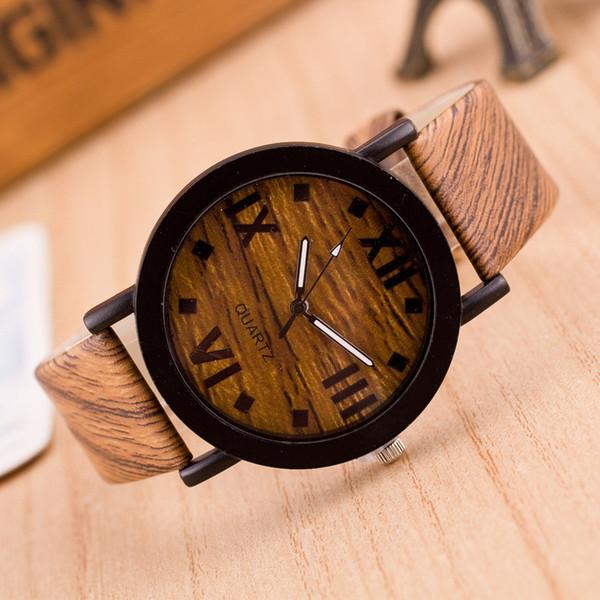 Genvivia los hombres del reloj de pulsera de madera de bambú de los números romanos de madera Banda de cuero de lujo Relojes de madera para los hombres como regalos