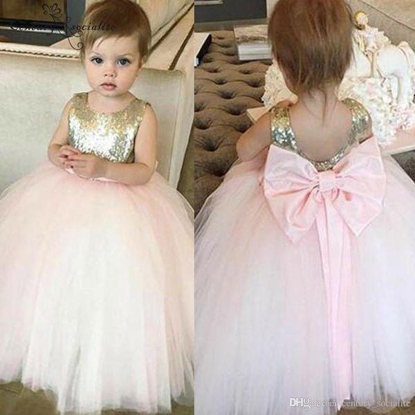 Cute Pink tulle Tutu Skirt Flower Girls Dresses With Jewel Neck Back Bow Floor Length First cummunion Dress For Toddler cheap