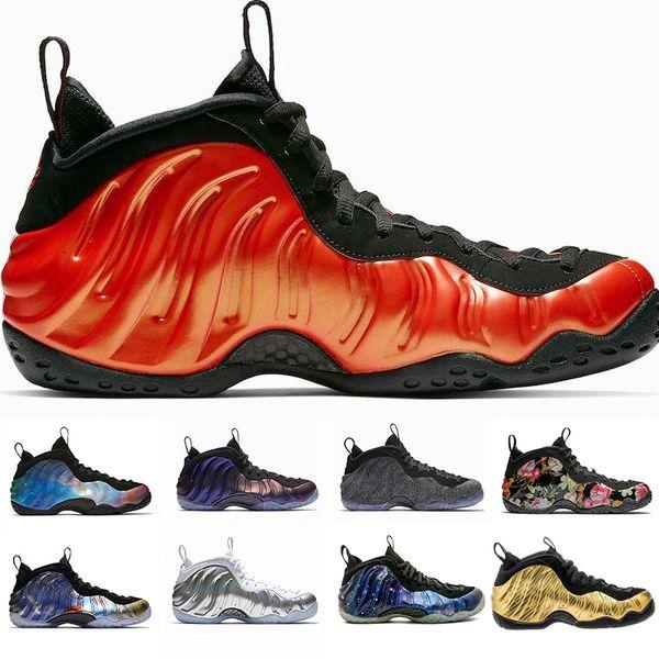 2019 Mousse one Abalone Habanero Red Floral Penny Hardaway Chaussures de basketball Noir métallisé Or Alternate Galaxy Fleece Sneakers 8-13