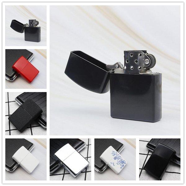 Più nuovo fuoco retrò metallo nero smerigliato accendisigari fumo carburante accendini ricaricabili sigaretta strumenti 7 colori possono scegliere