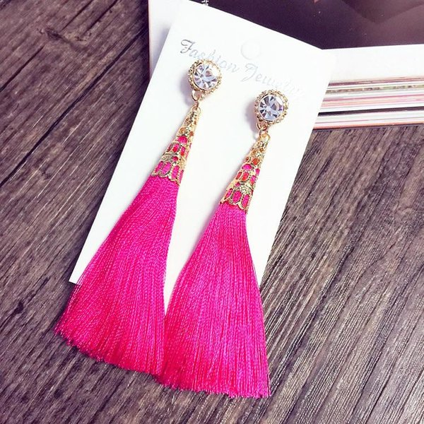 Thread Lange Quaste Ohrringe Strass Drop Statement Fringe Ohrringe für Frauen Luxus Tear Drop Ohrringe Europäischen Strass Quaste
