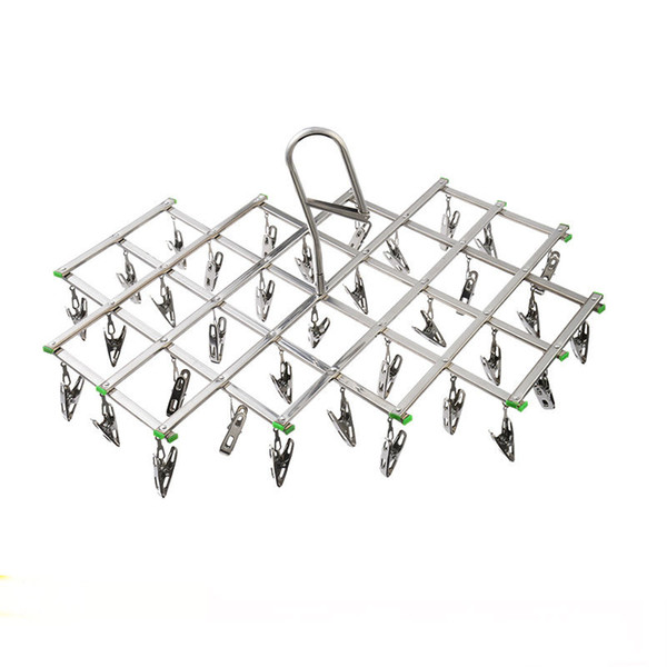 Hook stainless steel clothes drying rack foldable Sock Rack Windproof 35 Clip Clothes Hanger for Underwear Socks Gloves