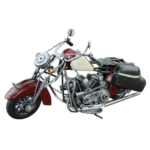 Fer européen modèle de simulation de moto main rétro métal Moto miniature Figurines Props Décoration cadeau d'anniversaire